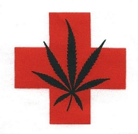 medical marijuana badge cross red